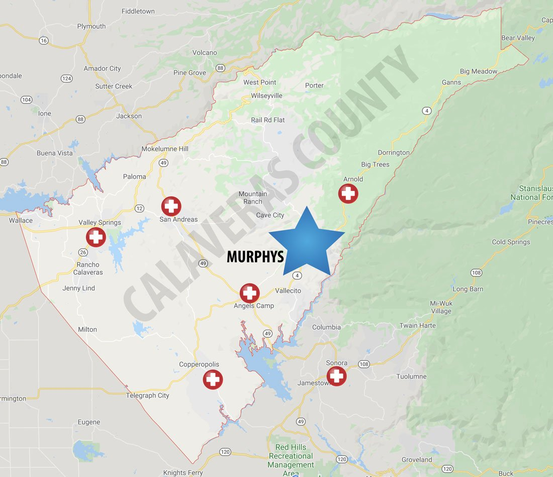 Calaveras County medical centers map