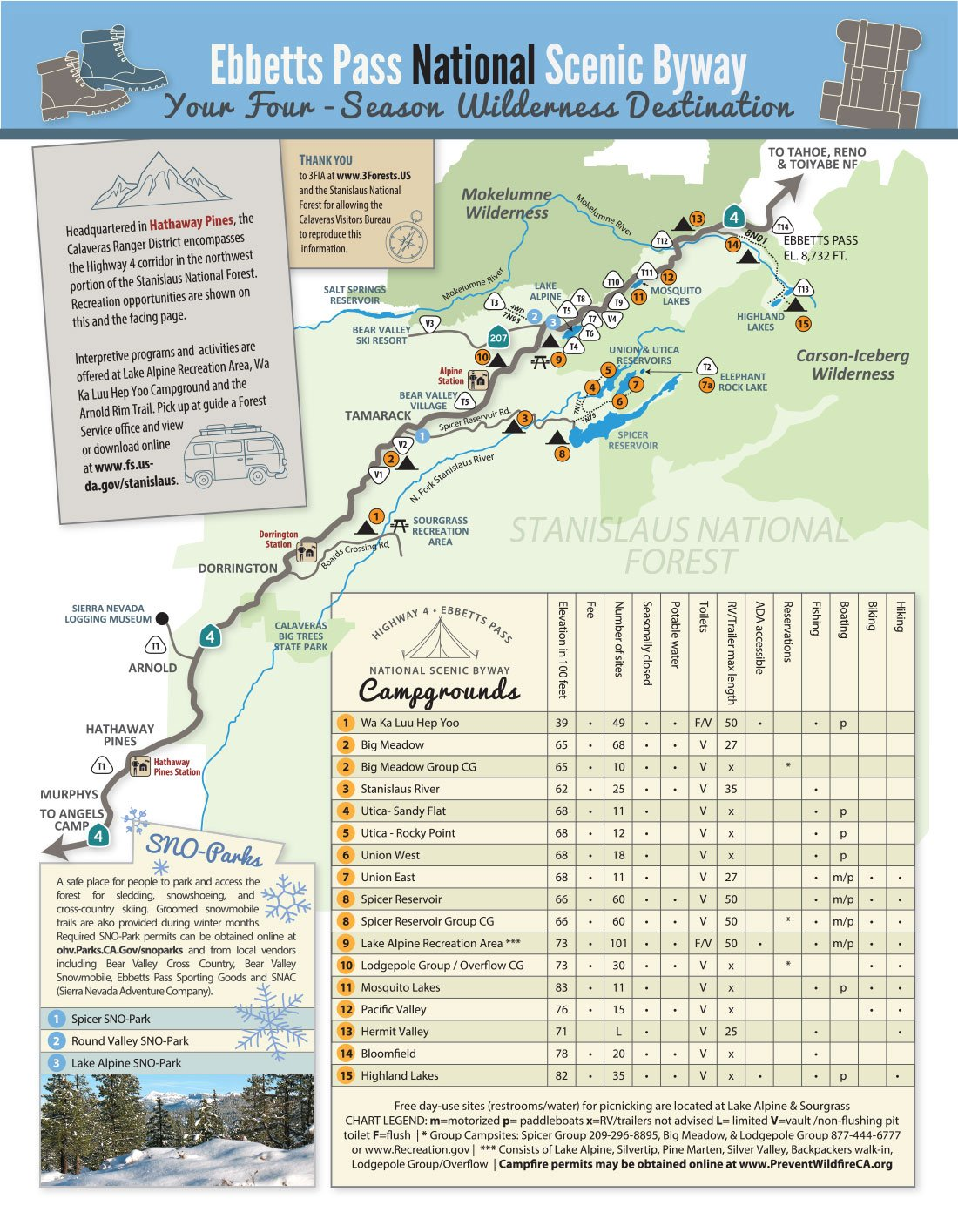 Ebbetts Pass hiking map